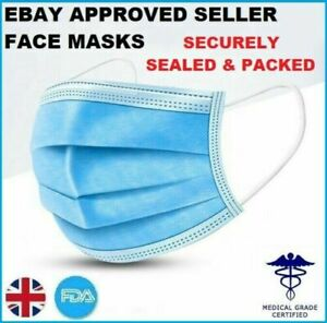 1x Face Mask 3PLY Surgical Disposable Mouth Guard Cover Masks Filter Ear Loop