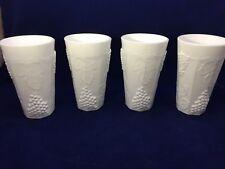 Set of 4 Vtg Indiana Colony Milk Glass Opaque White Harvest Grape 16 oz Tumblers