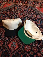 Vintage 80s 90s Blank Snapback Hat Lot Of 2 Green Underbrim Cream/blue