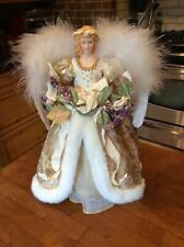 """1999 Brass Key 16"""" Genuine Porcelain Angel Tree-Topper Centerpiece Hand-Crafted"""