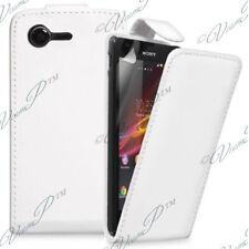 Accessoire Housse Coque Etui Simili Cuir BLANC Sony Xperia M2 Aqua D2403 D2406