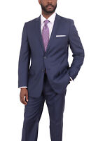 Mens 42S Giorgio Cosani Classic Fit Navy Blue Tonal Striped Wool Cashmere Ble...