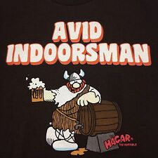 Hagar The Horrible Avid Indoorsman Small Brown T-Shirt Cartoon Beer Viking