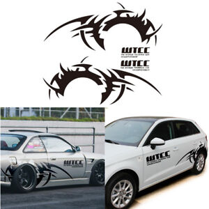Wheel On Fire Race Car Stickers Pair Black Rear Tire Flaring Decals Universal