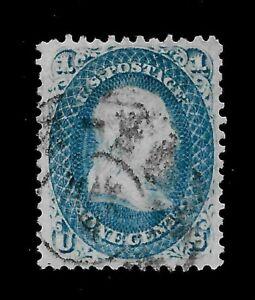 US 1861 Sc #63 1 c Franklin - Used - Vivid Color - Light Cancel