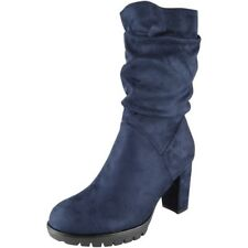 Womens Mid Calf Rouched Boots Faux Suede Grip Sole Fashion Zip Casual Size