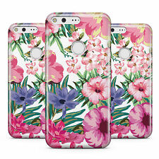 DYEFOR WHITE BRIGHT FLOWER PATTERN PINK FLORAL PHONE CASE COVER FOR GOOGLE
