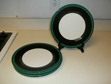 Fitz and Floyd ~ Ambience ~ Set of 4 Dinner Plates ~ Green & Black Bands