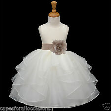 IVORY FLOWER GIRL HOLIDAY DRESS BRIDESMAID 12-18 MONTH 2 2T 3 4 6 6X 8 10 4613t