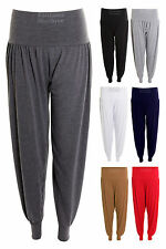 New Womens Full Length Harem Trousers Pants Ladies Baggy Leggings Size 8-14