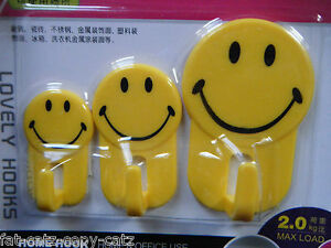 YELLOW SMILEY FACE BOYS GIRLS SELF ADHESIVE DOOR HOOKS HOME OFFICE UK SELLER