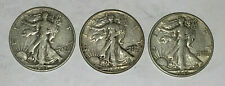 1943- 3 DIFFERENT WWII  Walking Liberty Half Dollars  90% Silver Uncertified