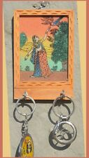 Gemstone glass painting wood key wall organizer with two hooks from India