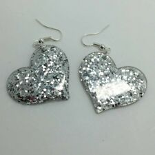 Silver Large Heart Glitter Charm Acrylic Earrings D204 Kitsch 5.5cm Long Fun