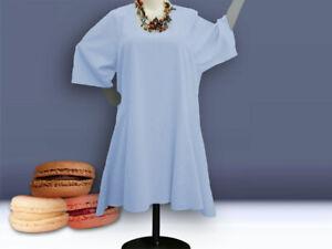 Lagenlook Longtunika / Kleid, Grössen 48 - 64 , A-Form,Leinen ,eisblau, blau