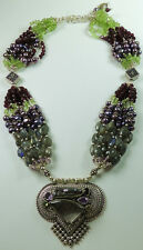 Statement Necklace Tourmalinated Quartz Labradorite Peridot Garnet Sterling