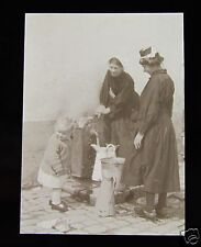 Glass Magic Lantern Slide Women Using Water Pump Brittany C1920 France Brittany
