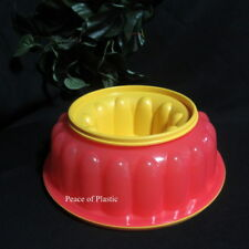 Tupperware New Rare Classic Jello Mold Raspberry Red and Yellow Insert and Seal
