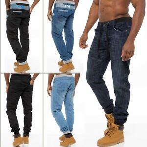Enzo Mens Cuffed Jeans Regular Fit Jogger Denim Pants Trousers All Waist Sizes