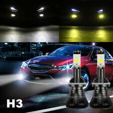 2x 80W H3 LED Fog Light Driving Bulb 9600LM Dual Color White Yellow 6000K 3000K
