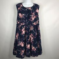 Torrid Blue Pink Floral Rayon Sleeveless Empire Waist Keyhole Dress Plus Size 1