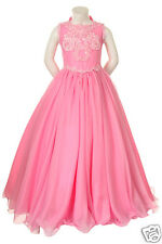 New Girl Pageant Wedding Flower Girl Party Formal Dress Fuchsia Pink 5,6,7,12,14