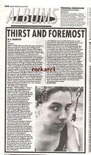 "PJ HARVEY Dry  album review 1992 UK newsprint  article/clipping 10x7"""