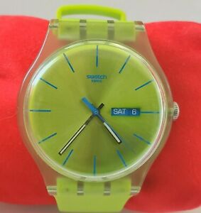 Swatch sr1130sw Lime Green Quartz Watch w/ Day Date works new battery big 41mm