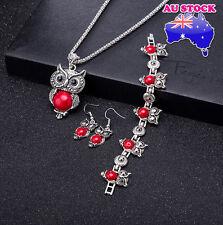 Retro Cut Red Turquoise Owl Pendant Necklace Earrings Bracelet Set