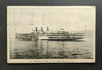 1917 Steamer Washington Irving Hudson River Picture Postcard Cover NY to MA