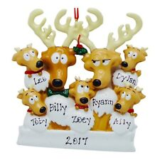 PERSONALIZED Cute Reindeer Family of 7 Christmas Ornament 2019 Holiday Name Gift