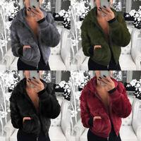 Women Outwear Faux Fur Coat Casual Loose Long Sleeve Winter Warm Tops Ladies New