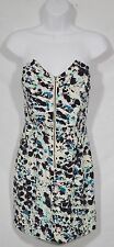 BCBGENERATION Beige Gray Green Black Patterned Strapless Dress 0 Lightly Boned