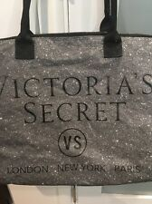 Victorias Secret Black Silver Glitter Shimmer Weekender Tote Duffle Bag