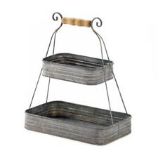 Small Compact TIN 2 TIER BASKET Stand Rustic Country Style Wood Handle