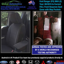 Ford Ranger PX MkII Front Neoprene Car Seat Covers XL XLS XLT WILDTRAK - AIRBAG