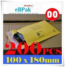 200 SIZE #00 Bubble Mailer - YELLOW - 100x180MM Padded Bag Kraft Envelope  Brown