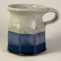 Studio Art Pottery Mug 7 Oz Blue Gray Octagonal Ocean Sky Wheel Thrown Signed