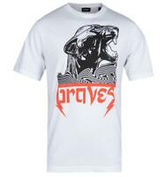 Mens Diesel Just Wi White Braves T-Shirt Short Sleeve Tee with Tiger