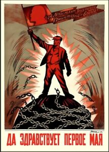 Soviet 1st May Propaganda Print - Soviet Poster Decor Bedroom 11x17in 16x24in