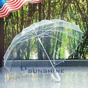 "46"" Full Size Large Clear Plastic Dome Bubble Rain Umbrella Wedding Party Favor"