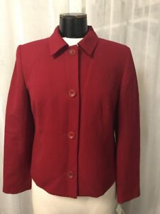 Talbots Women's Blazer Petites 100% Wool Fully Lined Red Size 8P NWT $178