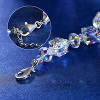 """SILVER FACETED AURORA BOREALIS CRYSTAL BEAD BRACELET WITH CROSS 7.25"""""""