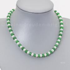Halskette Kette Collier aus weissen Perlen und Smaragd 8mm Geschenk 1839