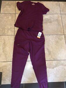 Lot of Adar Wine Women's Tailored Fit Scrubs- size L