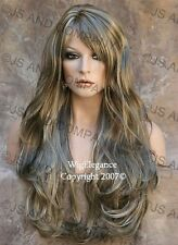 EXTRA LONG Full Wig Flowing wavy Layered Ash Blonde mix Hairpiece JSJO 18-22