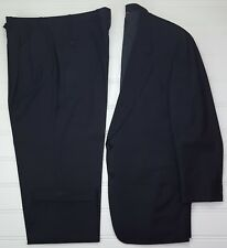 Samuelsohn Suit 44L Dark Gray Pinstriped 2 Button Wool Pleated Cuffed 38x31 Pant