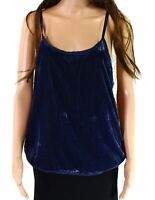 Banjara Women Cami Top Blue Size Medium M Velvet Crochet-Hem Scoop-Neck $54  948