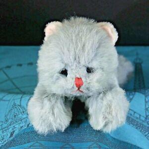 "VINTAGE RARE 14"" 1980 Gund FLOPPY GRAY KITTY CAT BELL IN TAIL plush Toy (K14)"