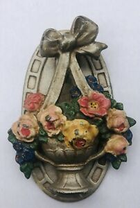 ANTIQUE HUBLEY FLOWER BASKET CAST IRON ARCHITECTURAL DOOR KNOCKER #124 VINTAGE
